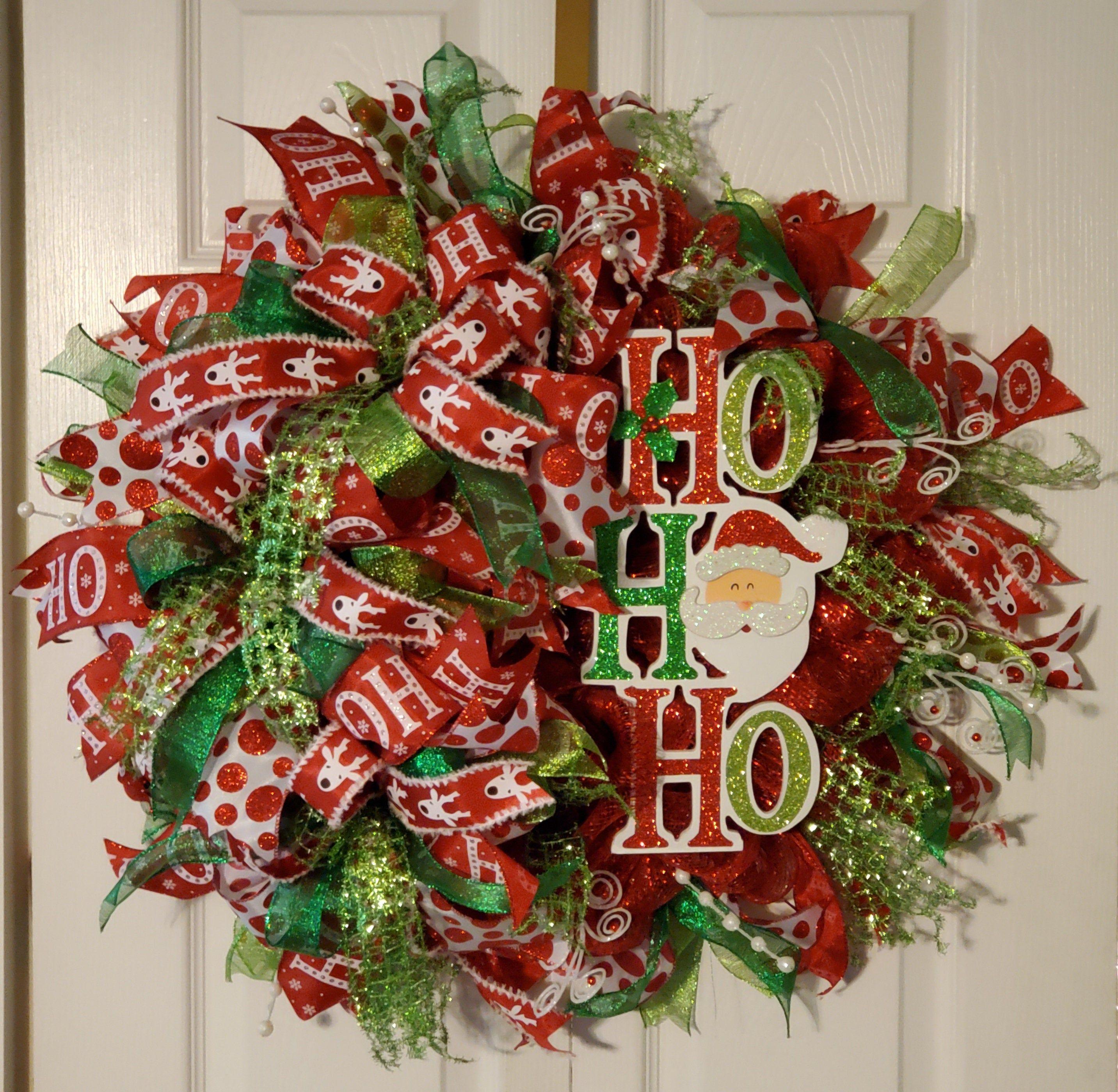 Christmas Wreath For Front Door Christmas Deco Mesh Wreath Etsy In 2020 Deco Mesh Christmas Wreaths Christmas Wreaths Christmas Door Decorations