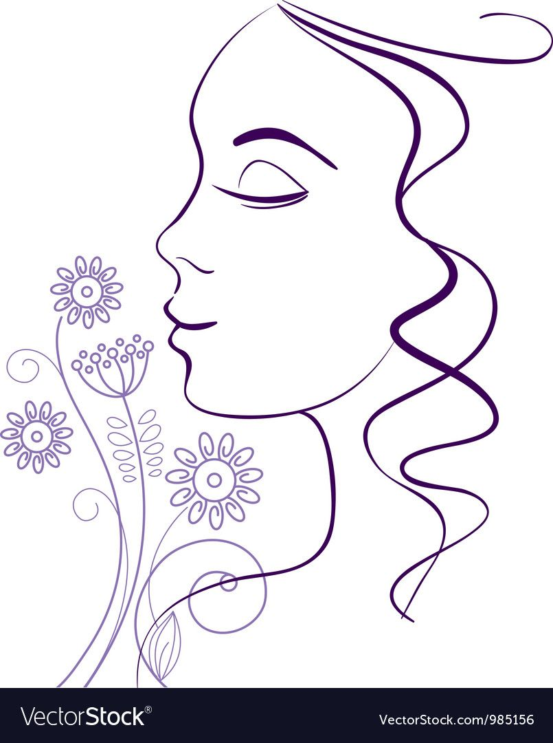 Beautiful woman silhouette with a flowers Vector Image ,
