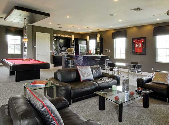 Perfect Idea For Lower Level Mini Kitchen Wet Bar Game Area Pool Table
