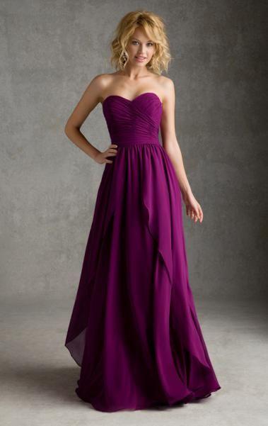 Online Floor length Fuchsia Prom / Bridesmaid Dress BNNAJ0049