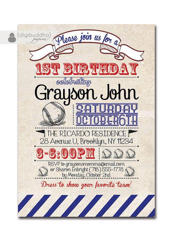 Baseball Birthday Invitation 1st Vintage Retro 18th 21st Boy Girl DIY Printable Or