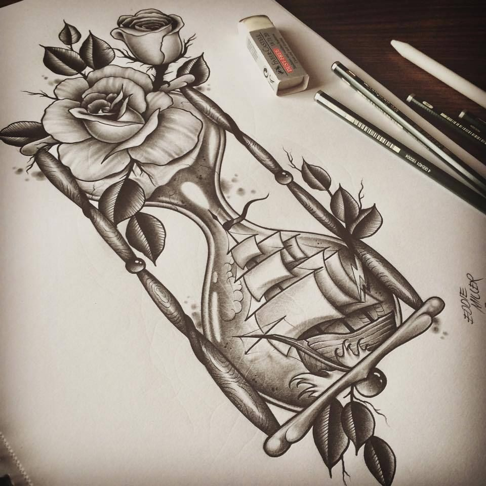 Roses Hour Glasses Tattoo: Via Facebook On We Heart It