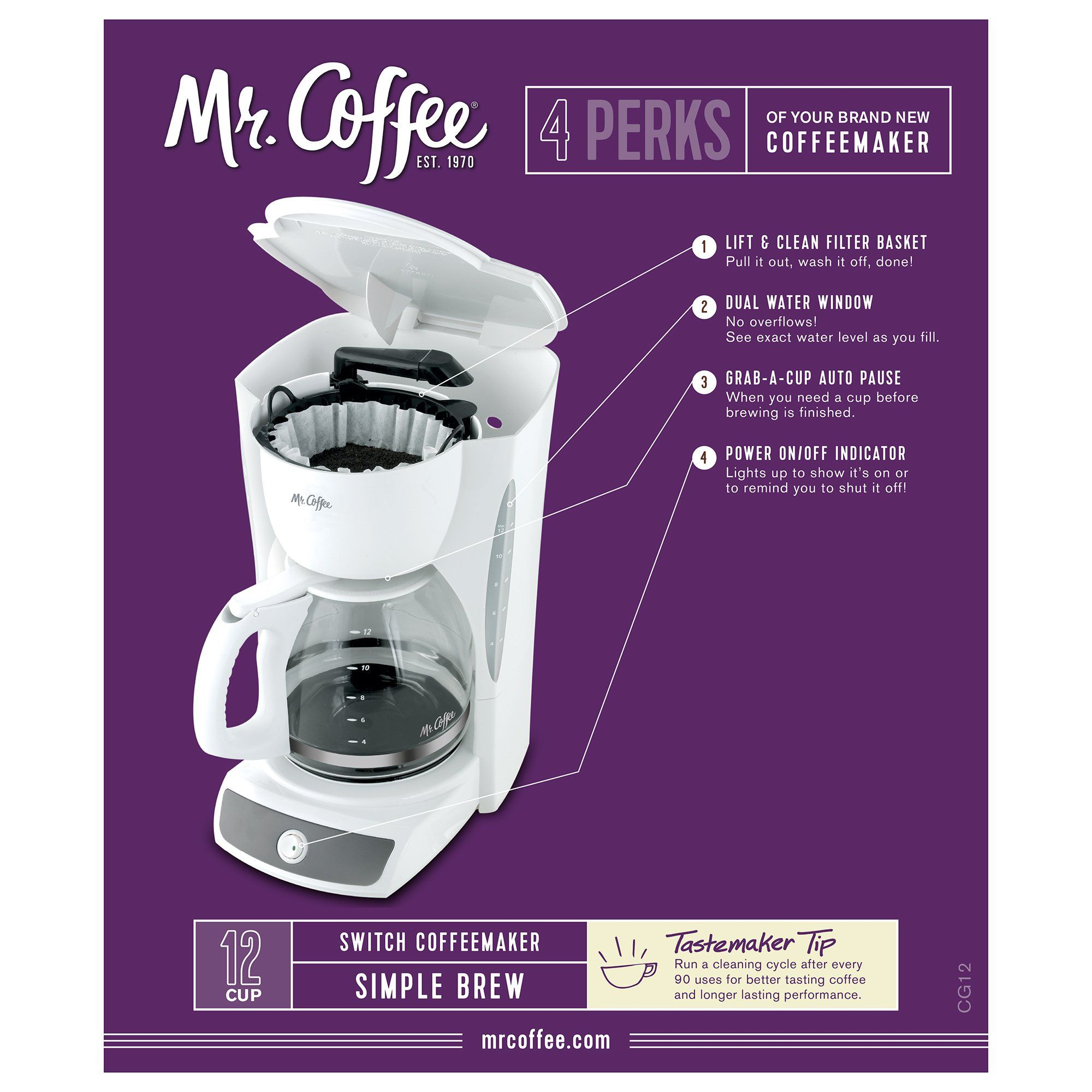 Mr. Coffee CG12RB 12Cup Switch Coffeemaker White >>> Read