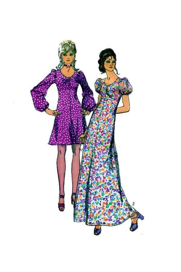 Simplicity 9446, Day Dress, Maxi Dress, 70s Retro Style, Boho ...