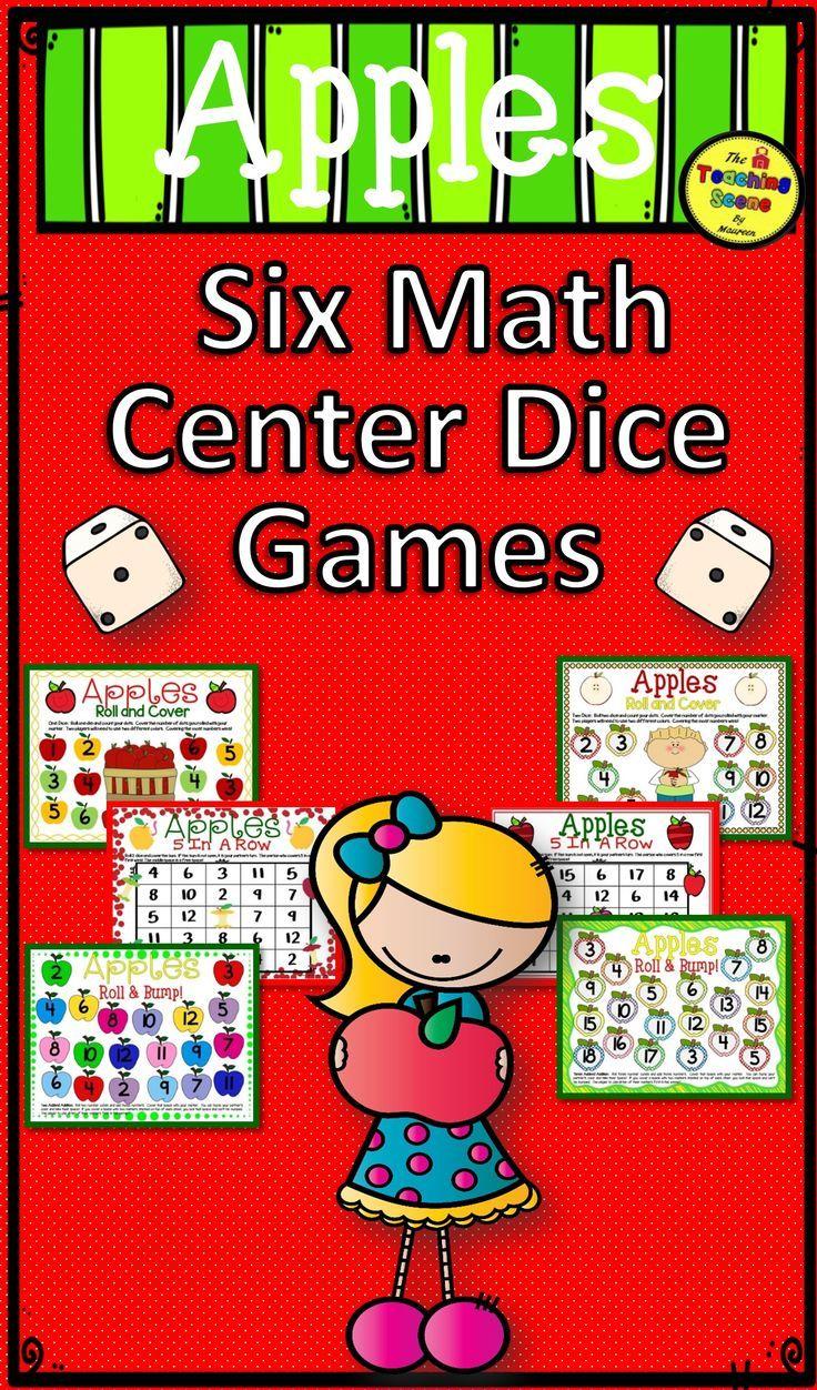 Apple Math Center Dice Games Apple math centers, Apple