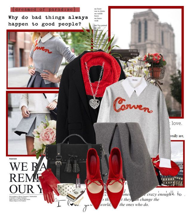 """""""Carven sweater"""" by artifashion-intelligence ❤ liked on Polyvore featuring Love Quotes Scarves, Pier 1 Imports, Shabby Chic, Reed Krakoff, Barneys New York, Carven, Miu Miu, J.W. Anderson, Mulberry and Zara"""