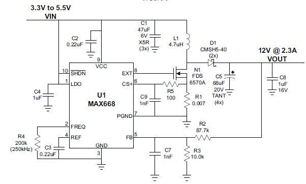 3 to 12 volts step up DC converter circuit diagram using MAX668 ic ...