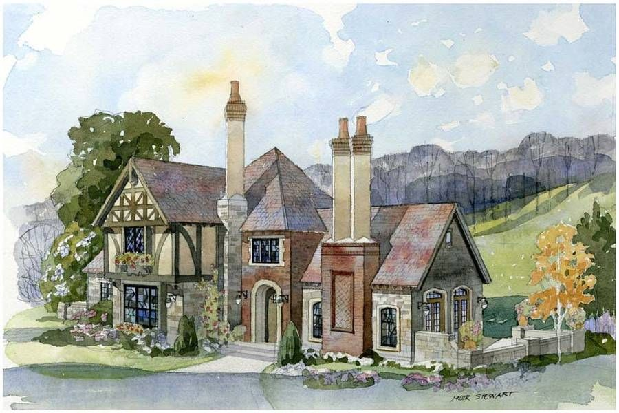 New South Classics Fireside Cottage Storybook House Plan Castle House Plans Cottage House Plans