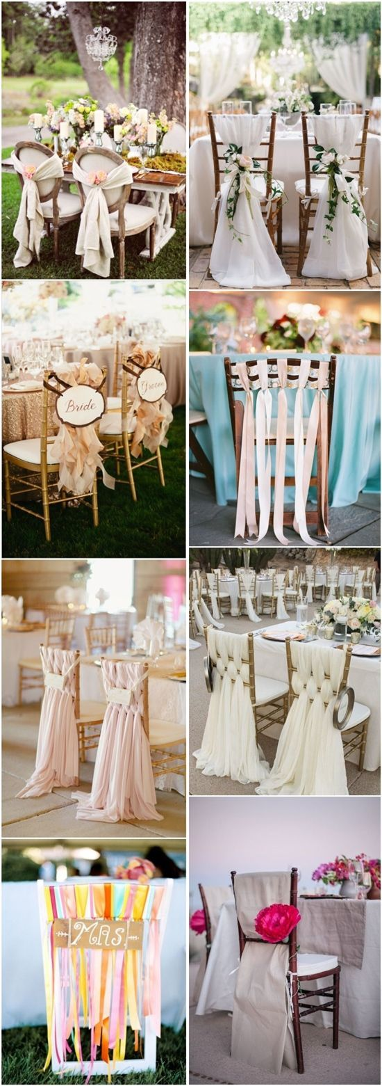 Decor for chairs wedding  Creative Wedding Chair Decor with Fabric and Ribbons  Wedding