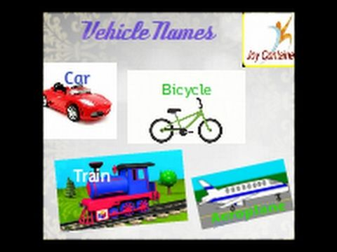 Vehicle Names In English Kids Education Learn Vehicle Names