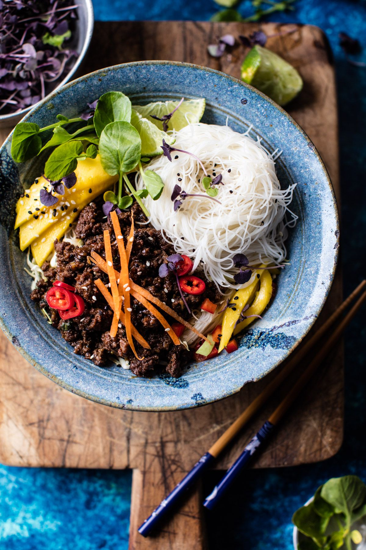 30 Minute Asian Basil Beef And Mango Noodle Salad Recipe Best Ground Beef Recipes Beef Recipes Fancy Dinner Recipes