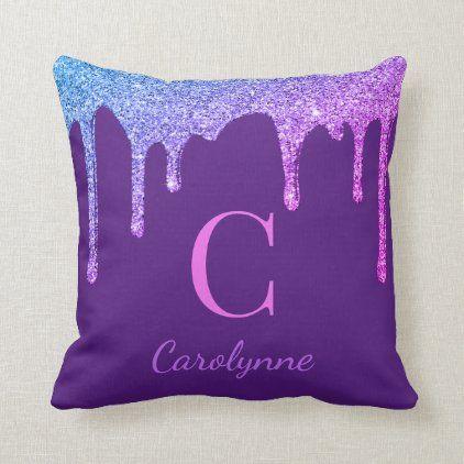 Purple Rainbow Sparkle Glitter Drips Monogram Throw Pillow