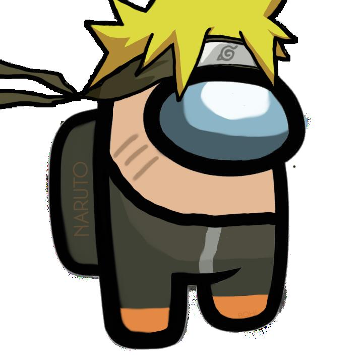 Among Us Naruto Kartun Desain Logo Stiker