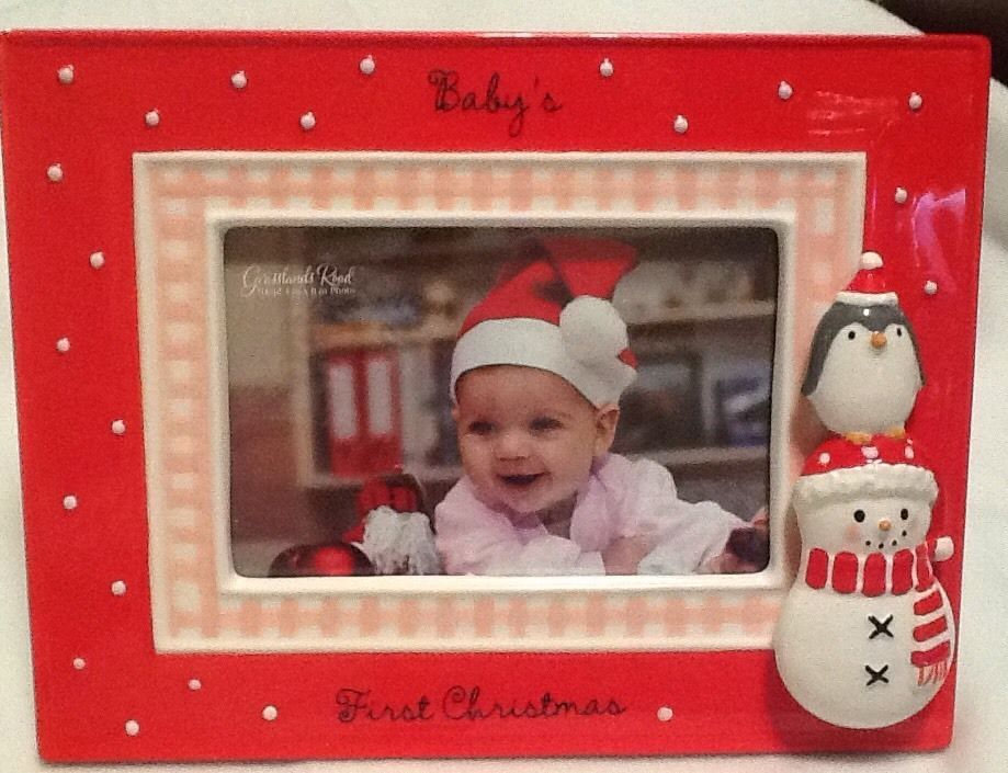 babys first christmas frame for girl grasslands road red wirh snowman