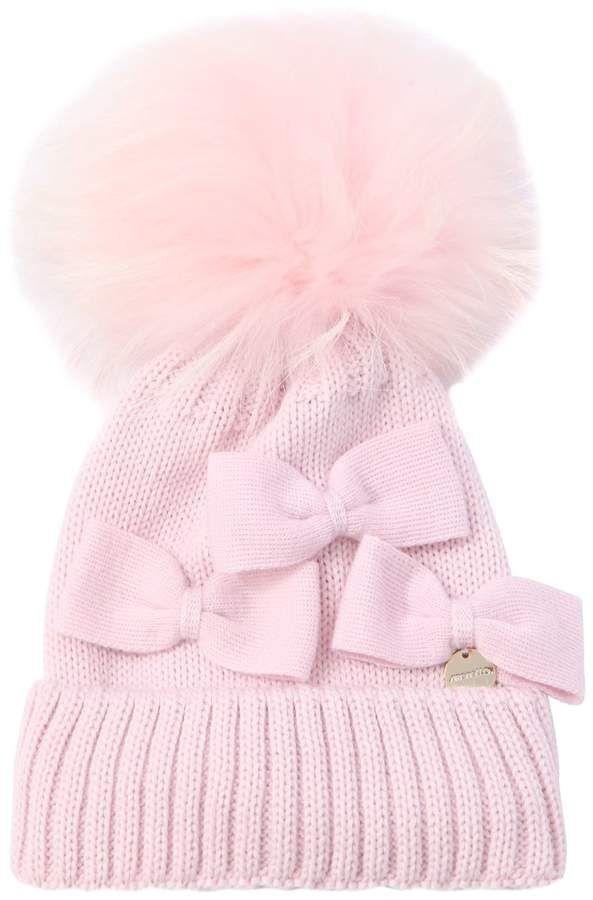 a882eef2b57 Simonetta Wool Blend Knit Hat W  Fur Pompom