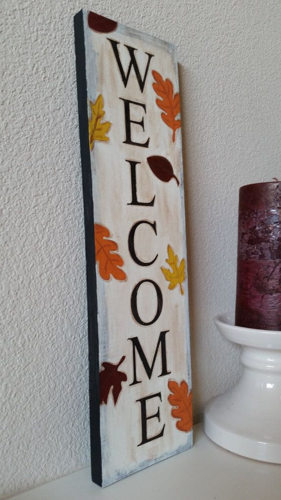 Welcome Fall Leaf Sign By Daisiesandduke On Etsy Fall Wood Crafts Fall Crafts Fall Decor Diy