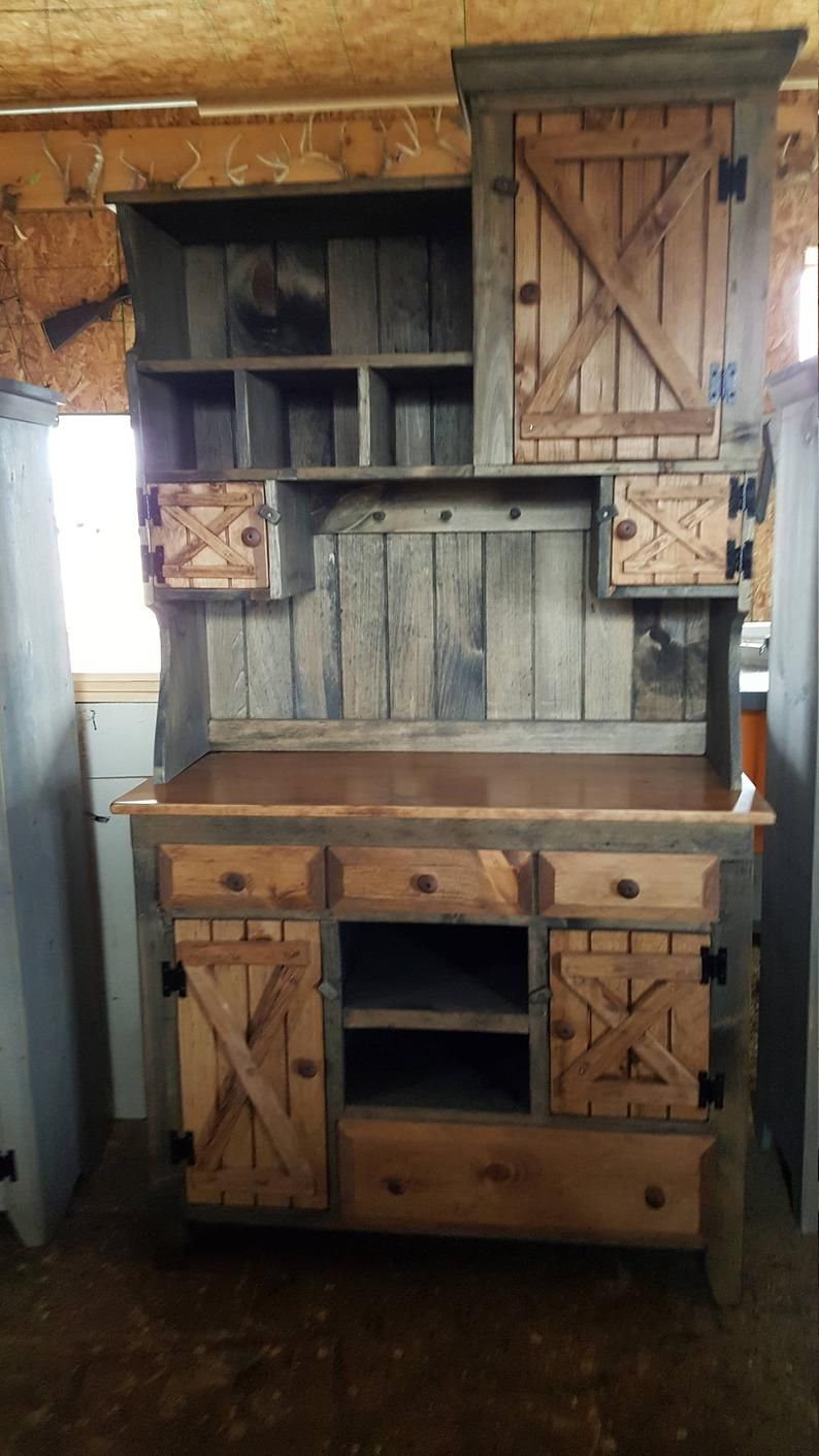 step back cabinet , primitive furniture / rustic farmhouse furniture / kitchen cabinet hutch buffet / country furniture