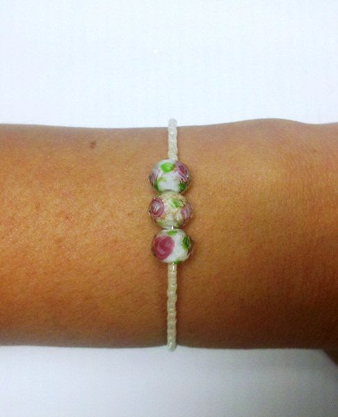 Ivory and Vintage Rose Bracelet by OneSEC on Etsy, $9.50