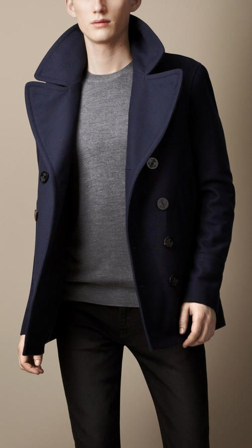 187a3057 Burberry Brit Wool Cashmere Pea Coat | Product of the Day | Burberry ...