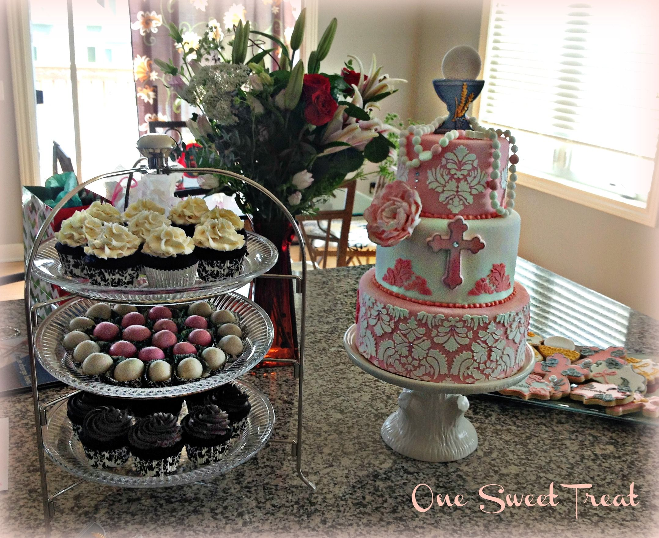 First Communion Cake and Cupcakes for my daughter Lillie.