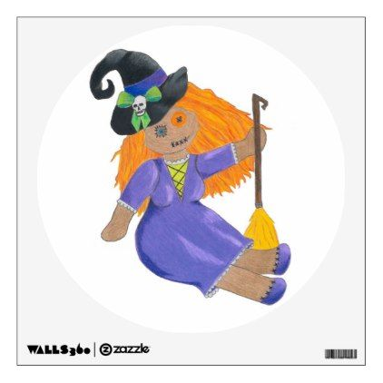 Adorable Halloween witch doll wall decal - halloween decor diy cyo - unique halloween decor