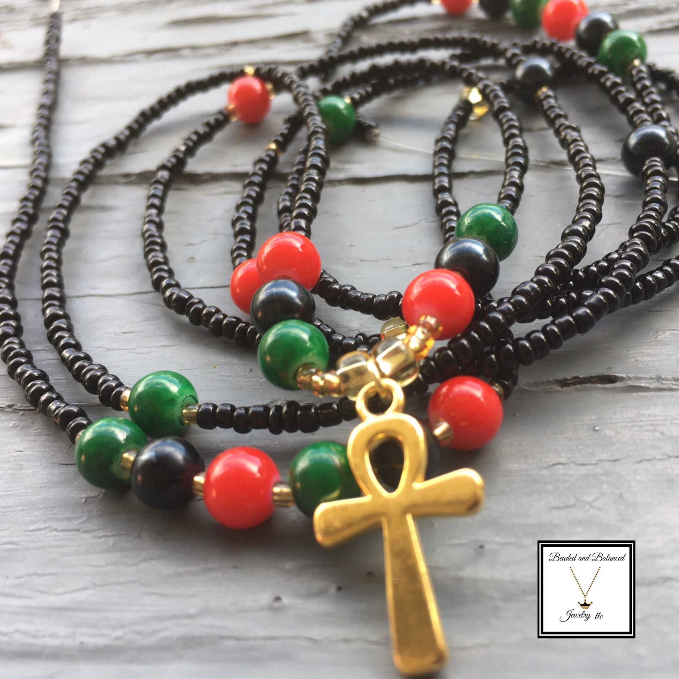 African waistbead with ankh charm beaded jewelry designs