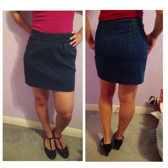 BDG Jean skirt Short jean skirt with 2 pockets. It buttons on one side. In good shape BDG Skirts