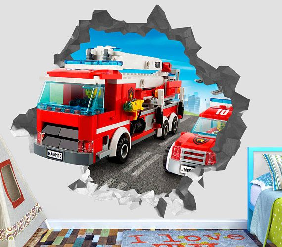 Lego City Fire Station 60110 Wall Decal