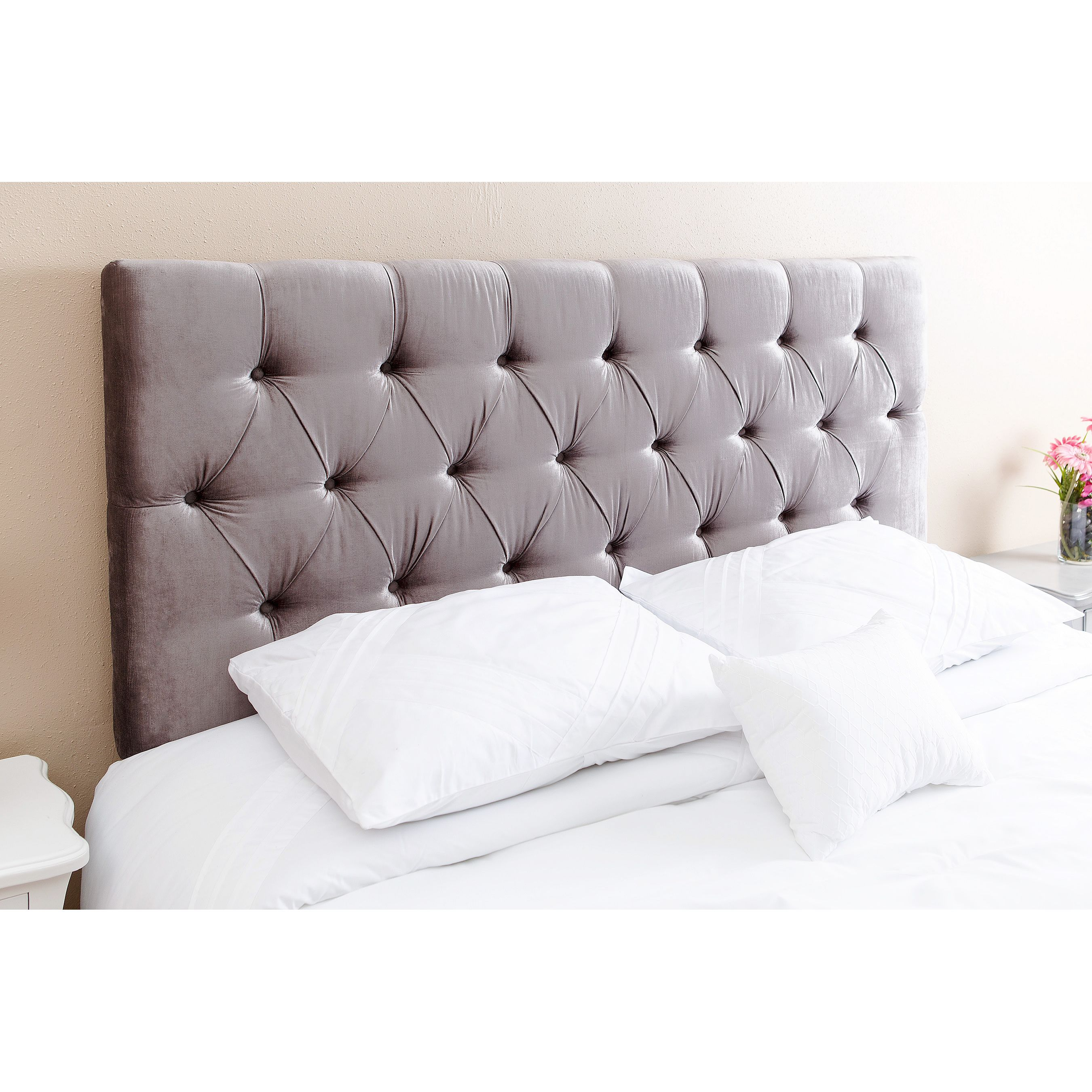 complete your bed with this abbyson living connie tufted grey