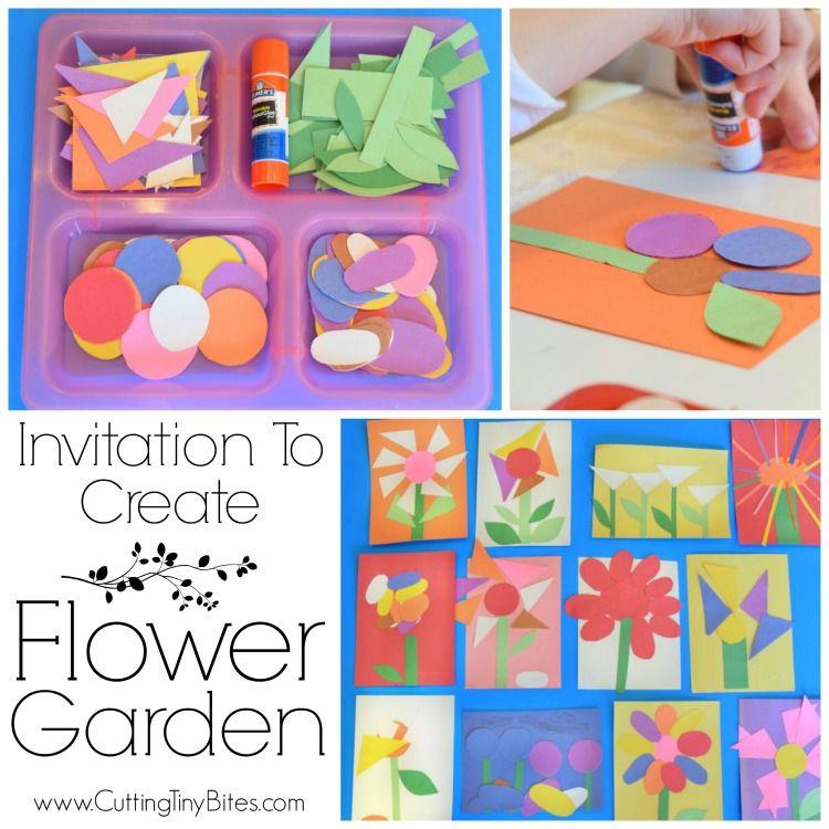 Invitation to create flower garden preschool crafts