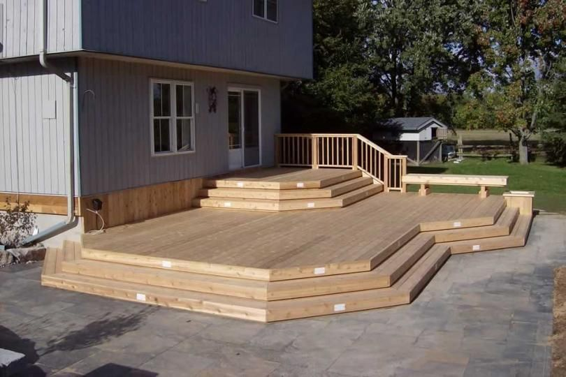 2-level, large deck with a bench and a built-in planter ... on 2 Level Backyard Ideas id=42879