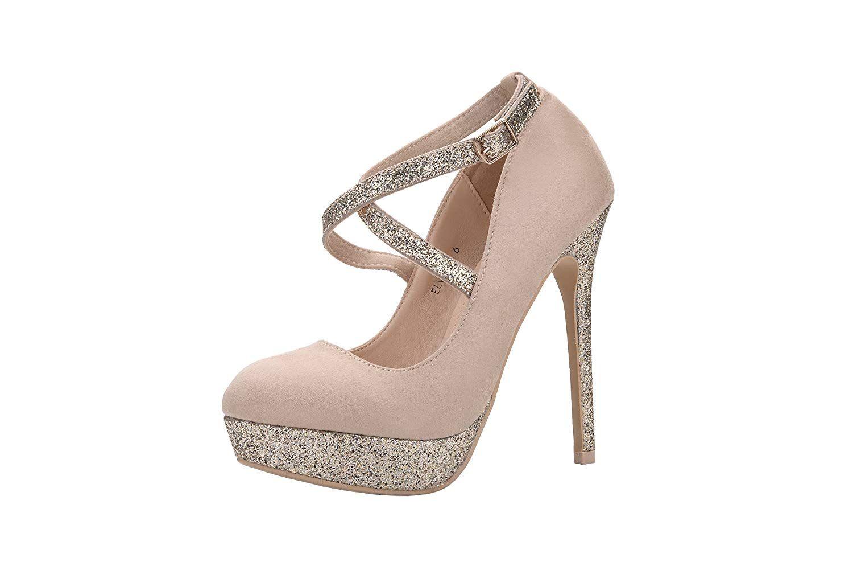 56b79fda623 Mila Lady ELVA26 Women Fashion Embellished Sparkles Party Pumps High ...