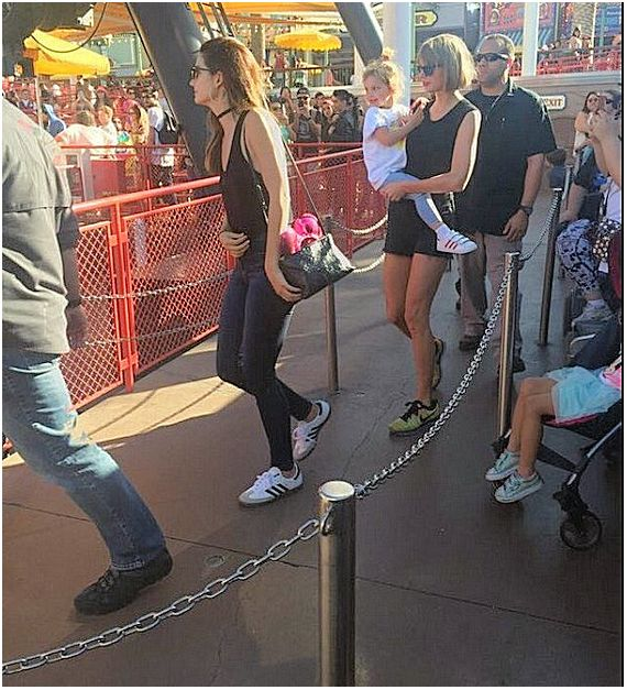 Taylor Swift, Lily Aldridge and Dixie at Disneyland yesterday!
