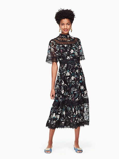 15453d81442 Kate Spade Botanical Chiffon Midi Dress