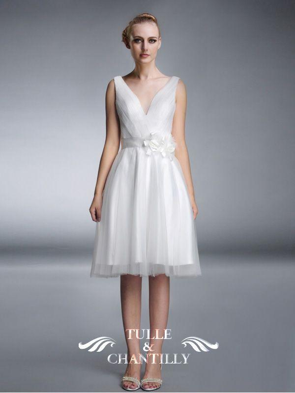 Puffs -Cute Short Beach V-neck Tulle Wedding Dress with Flower ...