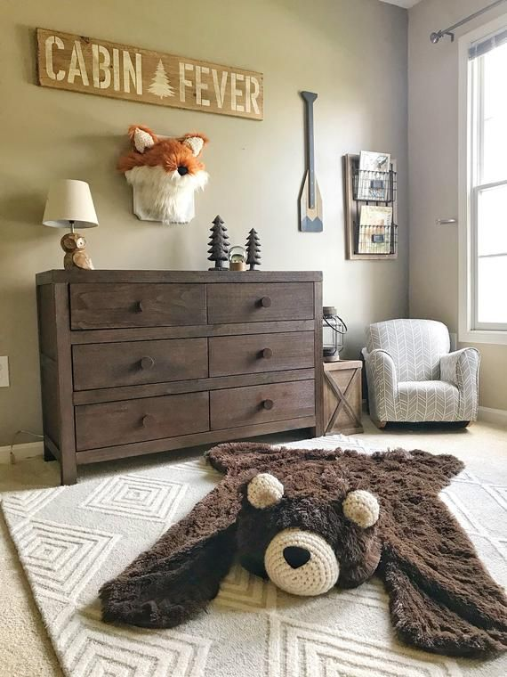 Nursery Rug / Regular size Chocolate Bear Rug / woodland