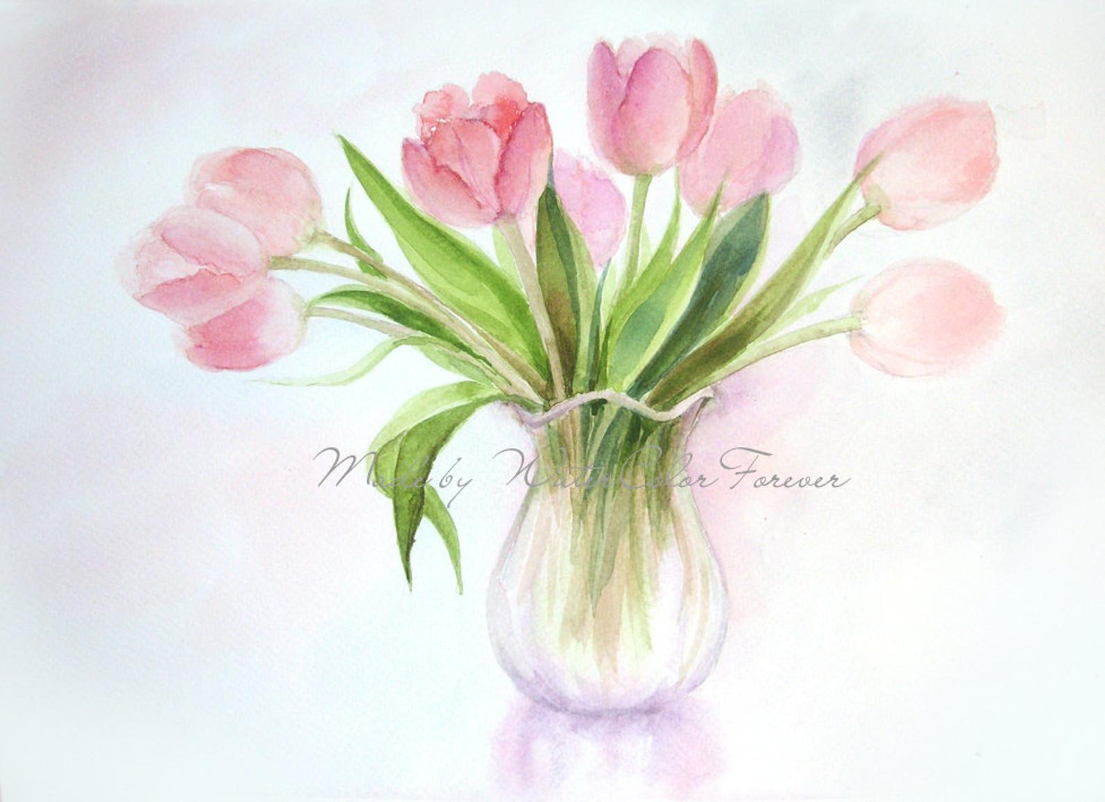 Tulipes Fleurs De Tulipe Original Peinture Aquarelle Peinture