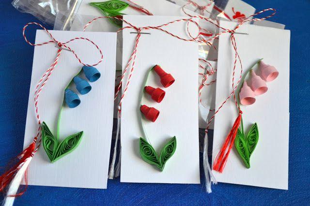 Primavara prin padure si gradini, se invesc sub soare, flori albastre, delicate, zorele si viorele, zambile parfumate, albastre, rosii, mov si galbene.    Martisor flori de primavara (quilling, din hartie, pe suport de carton)  Dimensiuni carton - 10 cm h x 5.5 cm l    Pret: 4 ron  Culori rosu, roz, albastru deschis, albastru inchis, mov, galben  Pretul include punguta cadou    Comanda martisoare handmade cu ghiocei la circulmagicshop@gmail.com sau pe Breslo la…