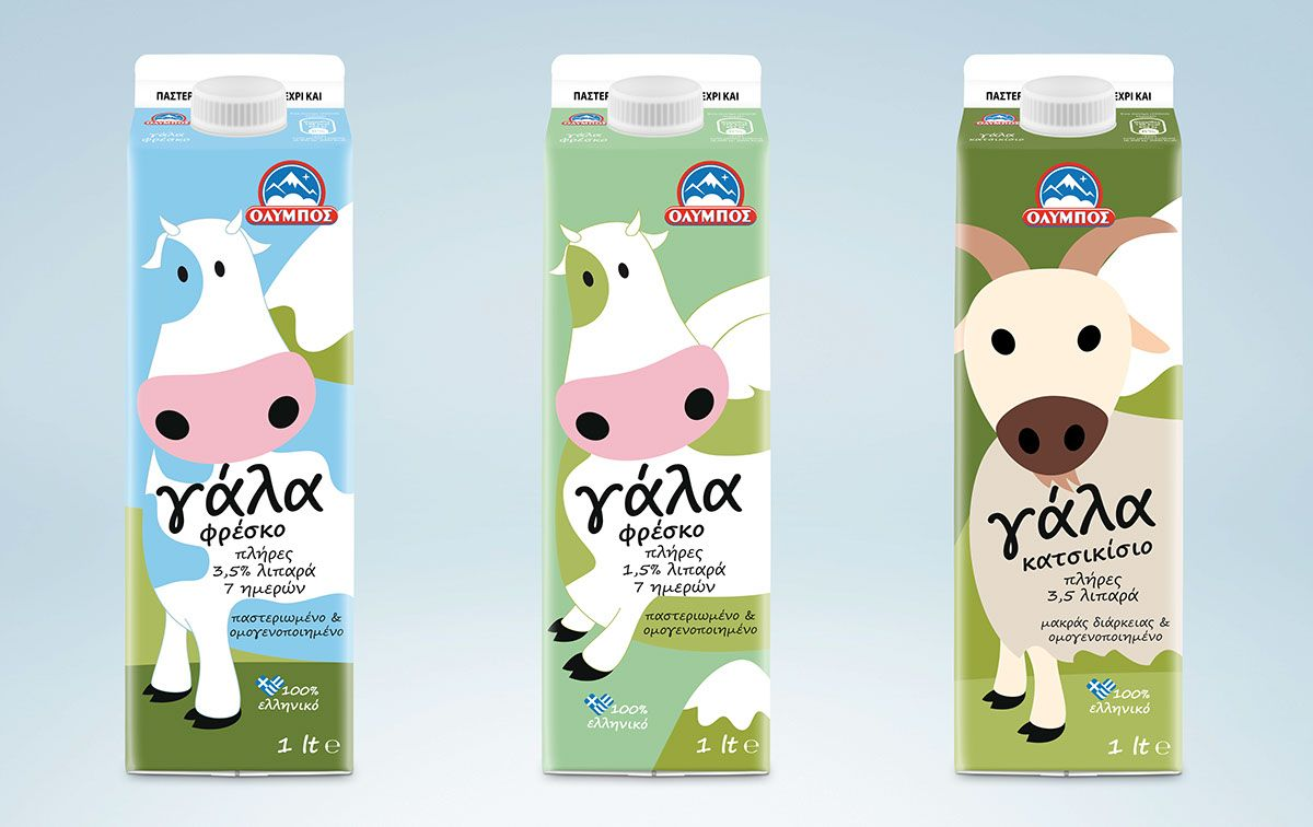Olympos Milk Packaging Rebranding On Behance Diseno De Envases