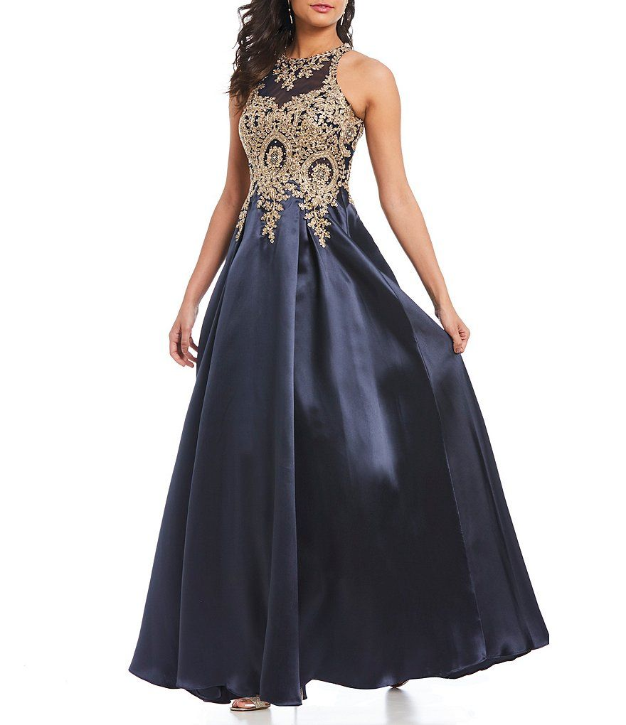 Xscape metallic applique high neck ballgown in wedding