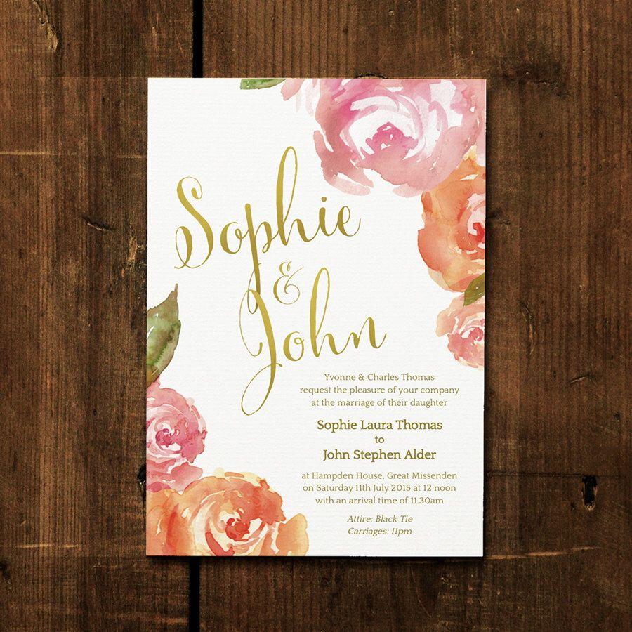 Peonies - Wedding Invitation Set on Luxury Card - Modern wedding ...