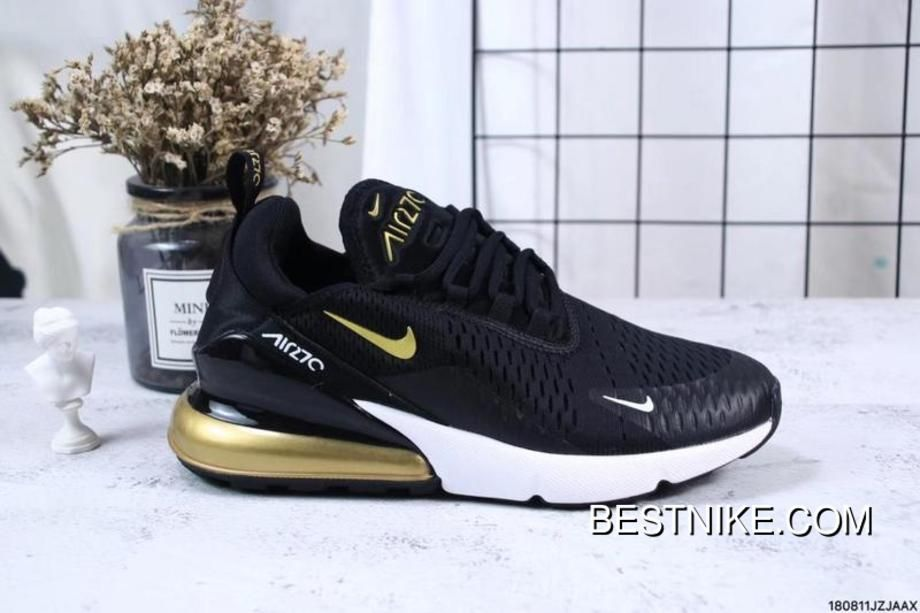 723ef06b6 Nike Jacquard Air Max 270 Flyknit Half-palm Cushion Black Gold Free Shipping