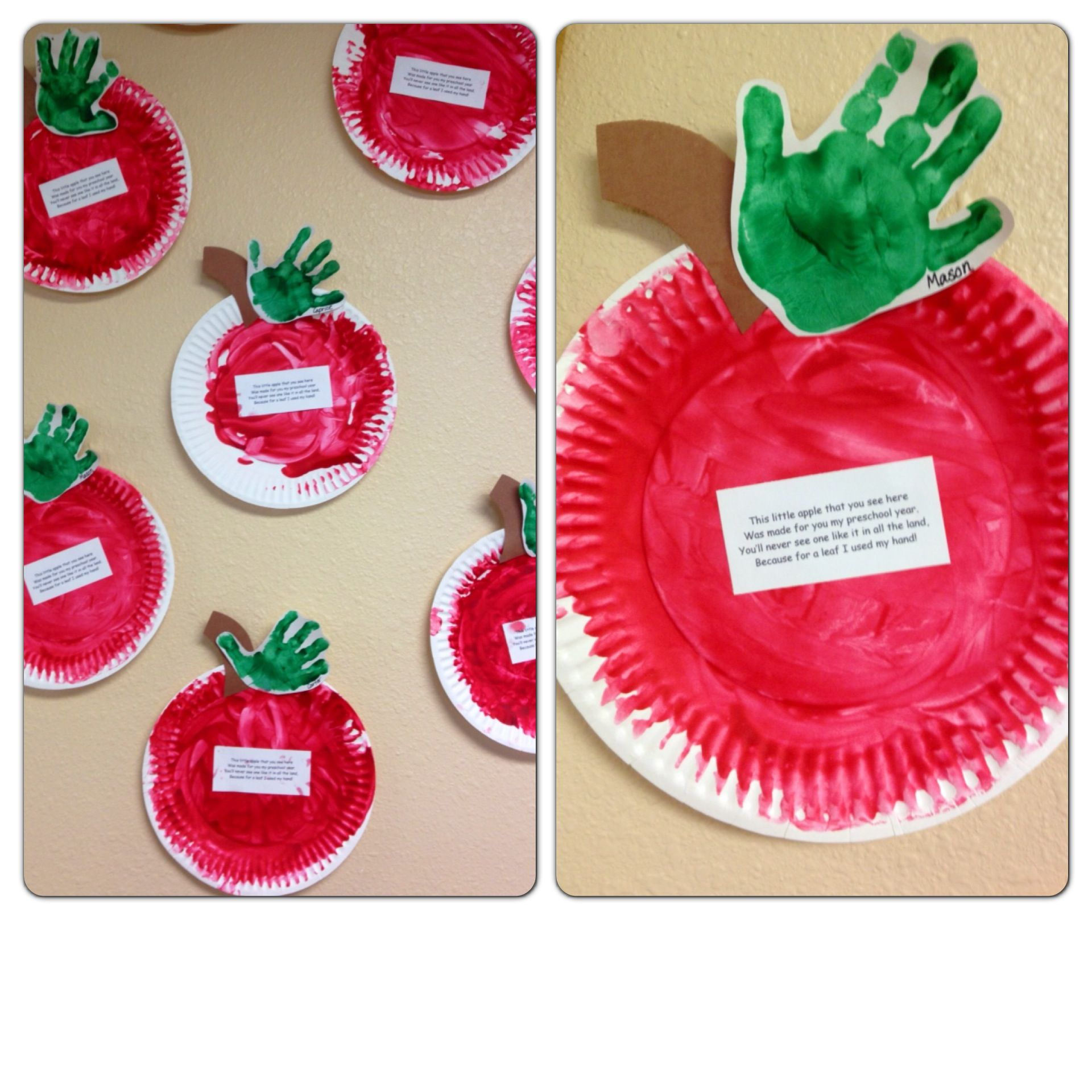 Classroom Ideas For 1 Year Olds : Paper plate apples fingerpainted with handprint leafs by