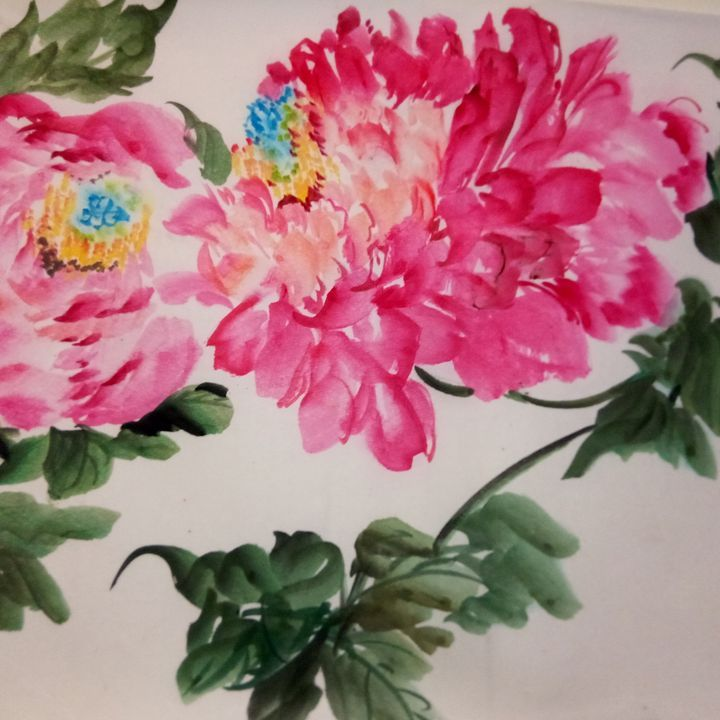 peony09262019-5 - sundongling watercolor  flower