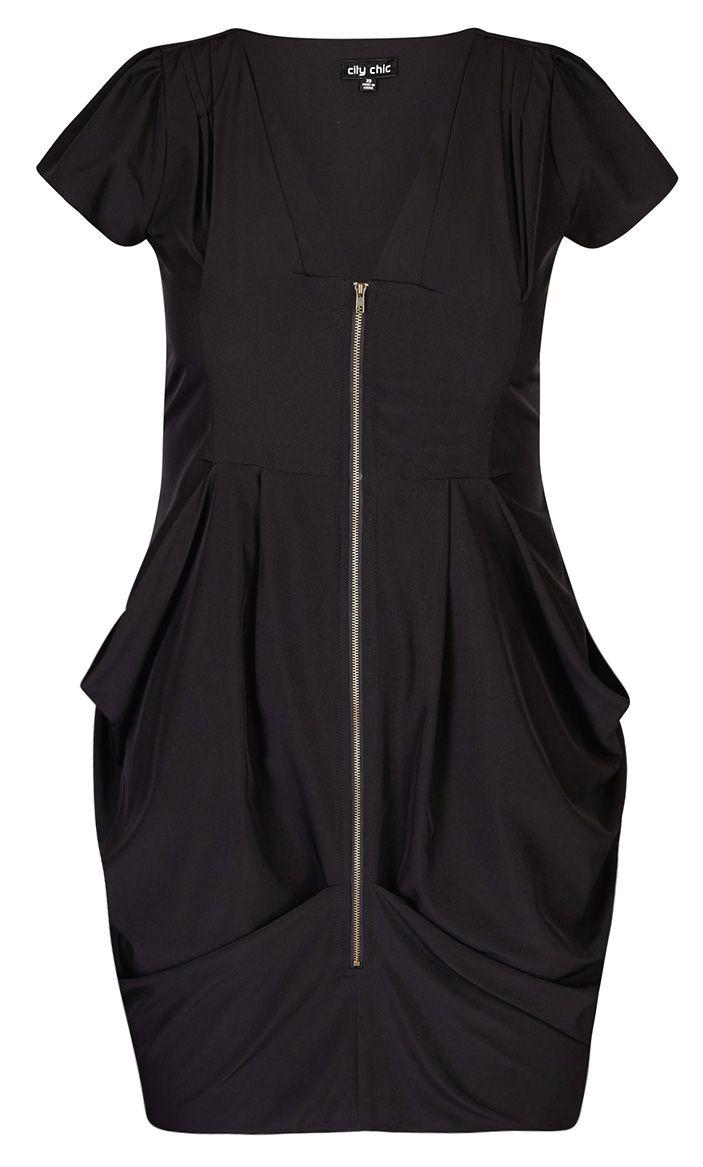 City Chic Black Zip Front Pleat Tunic Womens Plus Size Fashion