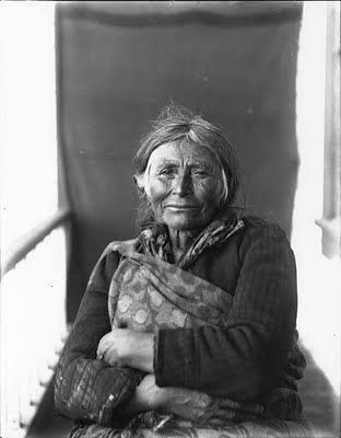 Makah woman seated on porch, Washington, ca. 1896