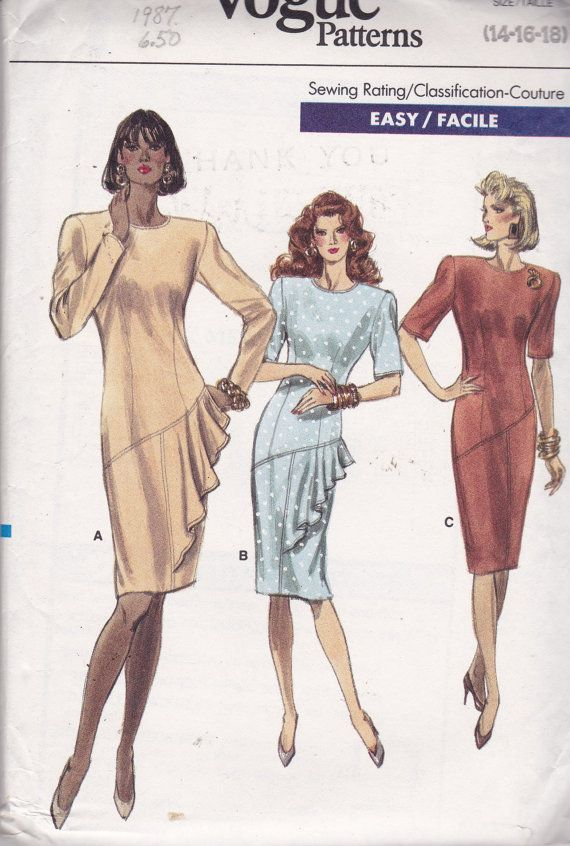 Vogue 7069 Vintage Pattern Womens Semi Fitted Dress in 3 Variations ...