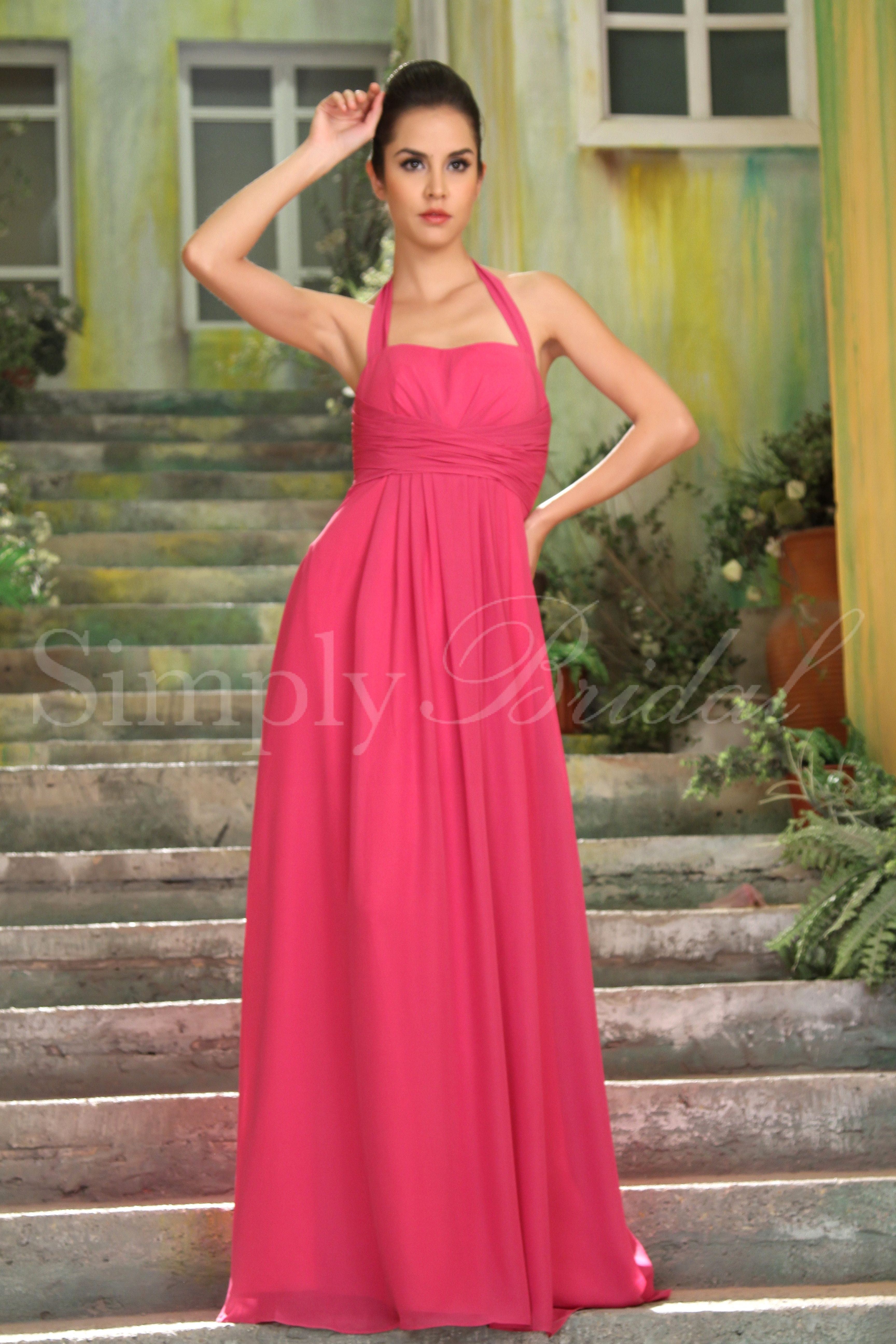 floorlength halter chiffon dress bridesmaid dress