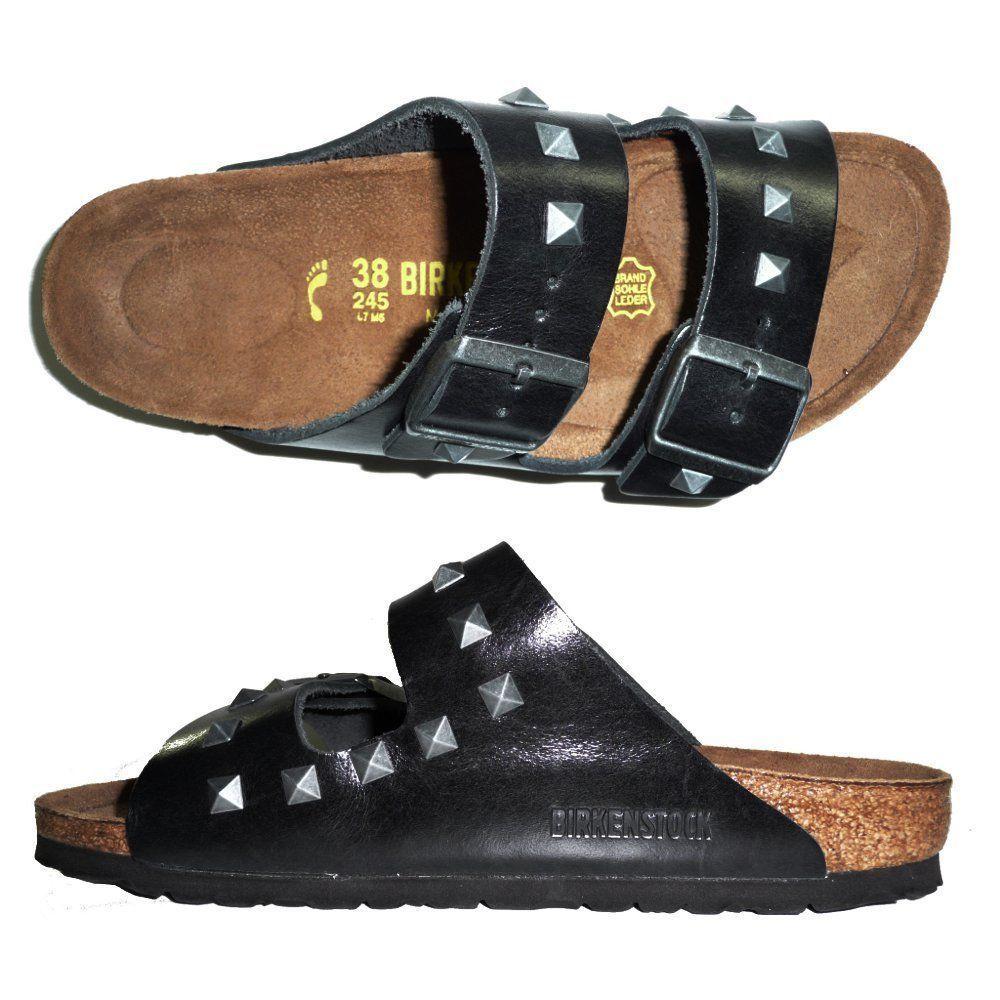 BIRKENSTOCK 653043 ARIZONA NIETEN CIABATTE DONNA scarpe sandali pelle Nero   BoatShoesForWomen 950cd71f3f5