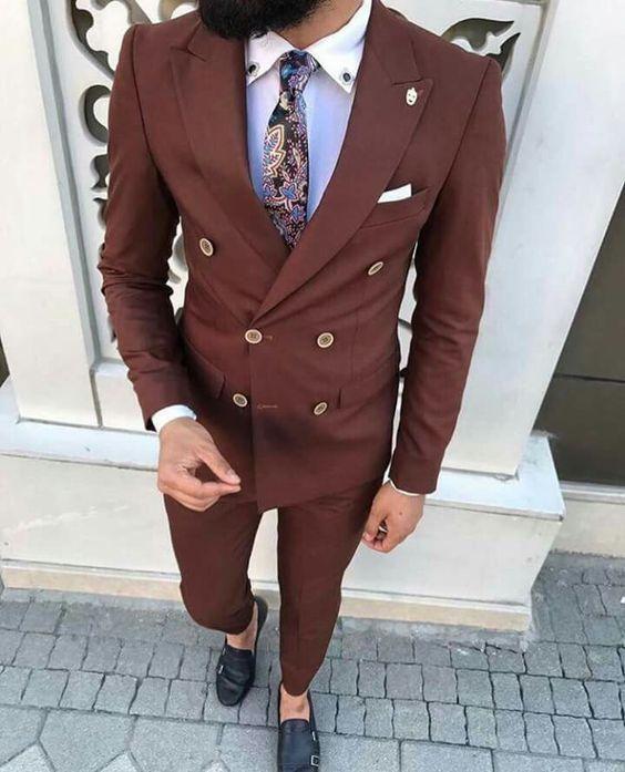 2018 Latest Coat Pant Designs Brown Men Suit Slim Fit 2 Pieces Groom